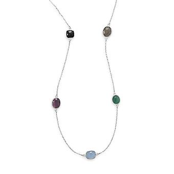 22.5 Inch Silver Chain Necklace Freeform Black Onyx Amethyst Blue Chalcedony Green Onyx Labradorite Jewelry Gifts for Wo