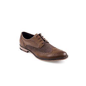 Cavani Horatio Tan Tweed Fabric Leather Look Shoes