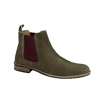 Roamers Khaki Suede Gusset Boot Textile Star Lining Padded Pu Sock Tpr Sole