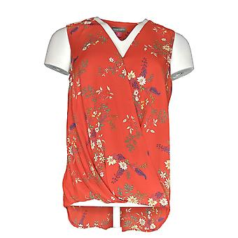 Vince Camuto Women's Top Printed Wrap-Front Tank Blouse Red A370002