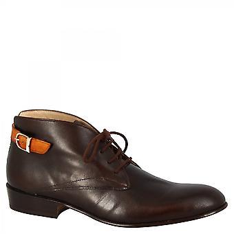 Leonardo Schuhe Frauen 's handgemachte Chukka Stiefel dunkelbraun Ziege Leder Tan Schnalle