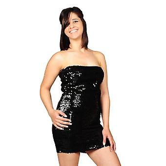 AK-Trading Exotic Glitzy Sequin Stretch Sequin Tube Dress, Black, Size One Size