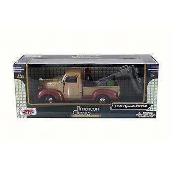MotorMax American Classics - 1941 Plymouth Pickup Wrecker - Brown  1:24