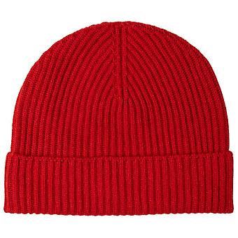 Johnstons of Elgin Ribbed Cashmere Beanie - Classic Red
