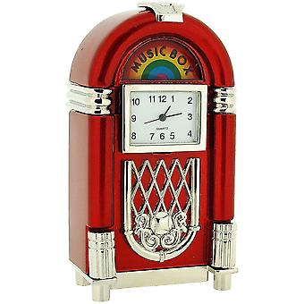 Miniature Juke Box Novelty Silver & Red Tone Metal Collectors Clock 0414