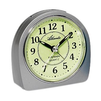 Atlanta 1586/19 alarm clock quartz analog silver quietly without ticking with light Snooze