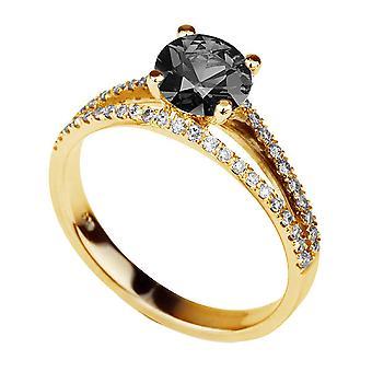 1.36 كتو ك 14 خاتم الماس الأسود الذهب الأصفر مع الماس انقسام عرقوب خمر