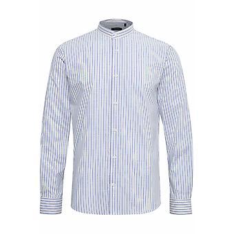 Trostol White & Blue Striped Grandad-Collar Shirt