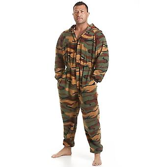 Camille Classic Mens All In One Green Camouflage Print Fleece Pyjama Onesie Size S-XL