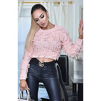 Poppy Knitted Tassle Jumper Top - Pink