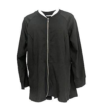 Denim & Co. Damen Plus Zip Front Hi-Low Saum stricken Jacke schwarz A299111 PTC