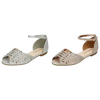 Anne Michelle Womens/Ladies Diamante Trim Peep Toe Sandals