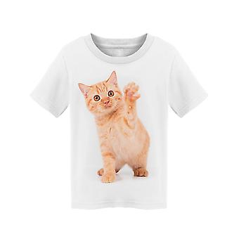 Red Shorthair Cat Raising Paw Tee Toddler's -Image by Shutterstock
