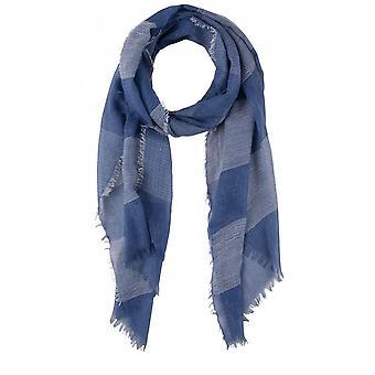 Olsen Blue & White Woven Stripe Scarf