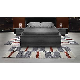 Shaggy Runner Set High Flor Rug Set Bed Border Terra Grey White Set of 3