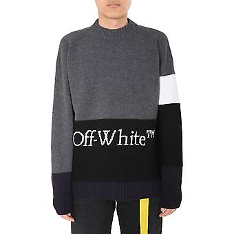 Off-white Omhe048e20kni0010701 Männer's Grau Wolle Pullover