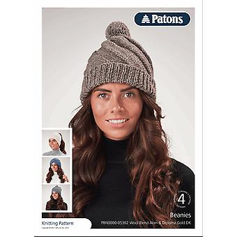 Patons Knitting Pattern - Wool Blend Aran and Diploma Gold DK - 4 Beanie Hat Designs