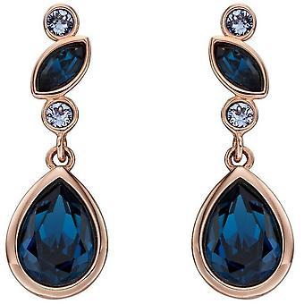 Elemente Silber Multi Stein Kristall Ohrringe - Rose Gold/blau