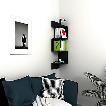 Półka w kolorze czarnym w kolorze melamińskim, PVC 30x30x127,2 cm