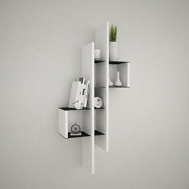 Lanzarote Shelf Color White, Noir en puce, Couche métallique peinte 49x20x108 cm