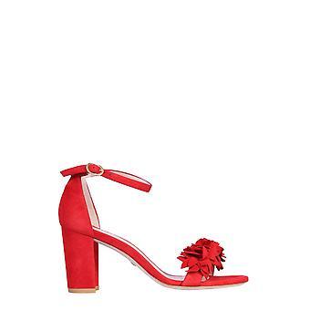 Stuart Weitzman Nearlynudeflowersuedered Women's Red Suede Sandals
