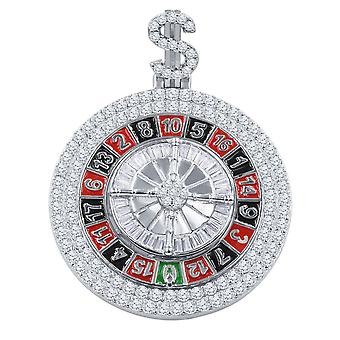 925 Sterling Silver 3D Pendant - SPINNING ROULETTE