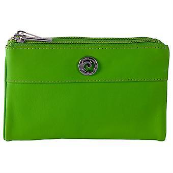 Pierre Cardin Genuine Leather Bi Fold Twin Zip Ladies Purse - Green