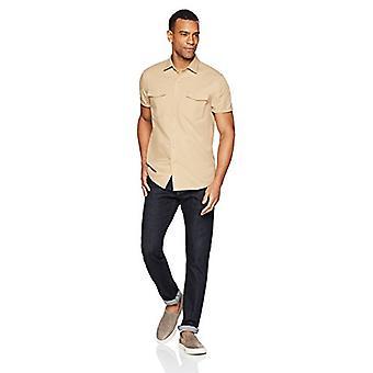 Goodthreads Men-apos;s Standard-Fit Short-Sleeve Ripstop Dobby Shirt, kaki, Small