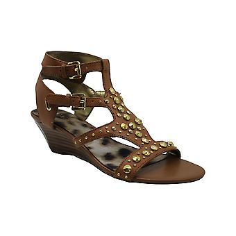 Guess Aidana Womens Size 6.5 Brown Leather Wedge Sandals Shoes