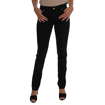 Black Cotton Stretch Slim Denim Pants -- SIG6411952