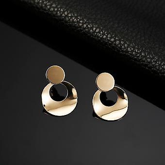 Gold Twisted Disc Hoop Earrings