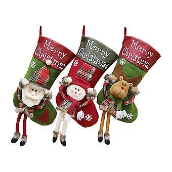 3pcs 18.5inch christmas strømper julenissen hengende ornament