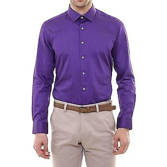 Cotton satin slim fit purple shirt