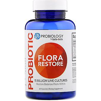 Belle+Bella, Probiology, Probiotic Flora Restore, 15 Billion CFU, 60 Capsules