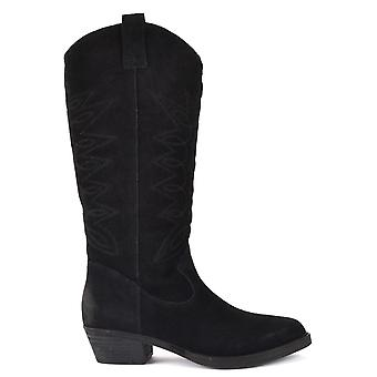 Ash INCAS Calf Length Boots Black Suede