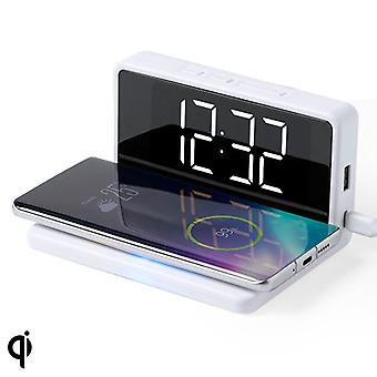 Alarm Clock with Wireless Charger White