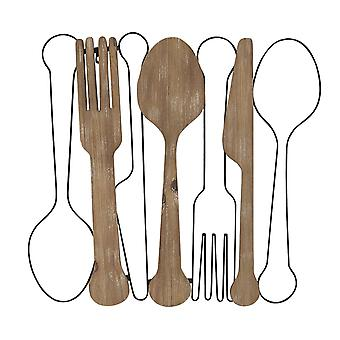 Kitchen Utensils Wall Decor with Metal Outlines