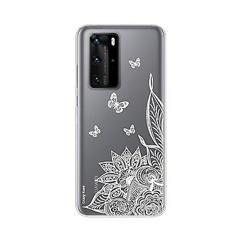 Hull For Huawei P40 Pro Soft Mandala Flower And White Butterflies