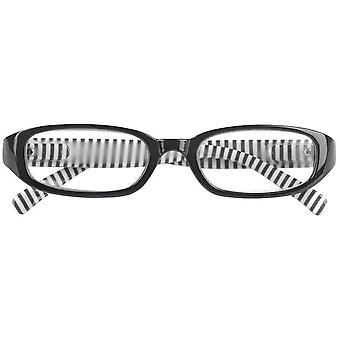 Reading glasses Unisex Libri_x stripes black and white thickness +2.50