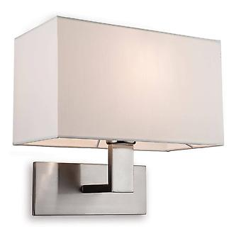 1 Light Single Indoor Wall Light Brushed Steel, Cream Shade, E27