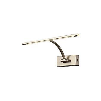 Small 1 Arm Wall Lamp, Picture Light, 1 x 6W LED, 3000K, 470lm, Satin Nickel