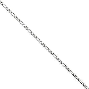 14 k Weißgold solide poliert 4,0 mm flache Figaro Kette Armband Hummer Kralle Schmuck Geschenke für Frauen - Länge: 7 bis 8