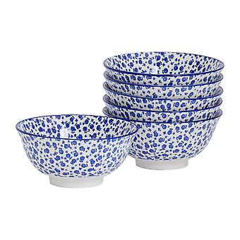 Nicola Spring 6 Piece Daisy Patterned Cereal Bowl Set - Porcelain Breakfast Dessert Serving Bowls - Navy Blue - 16cm