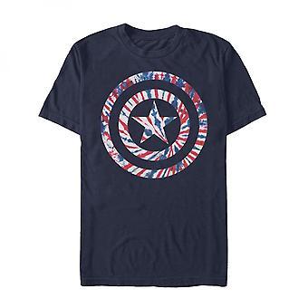 Camiseta Con el símbolo del escudo de efecto tie dye del Capitán América