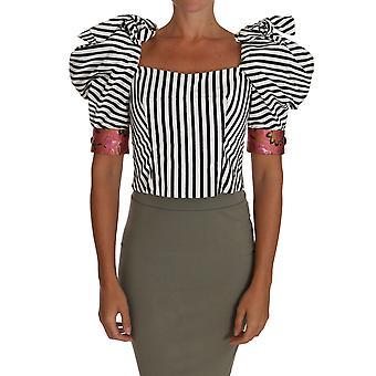 Dolce & Gabbana Beyaz Siyah Çizgili Kırpılmış Top Puf Kol Gömlek TSH2724-38
