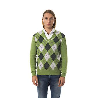 Uominitaliani Verde Green V-Neck Check Sweater