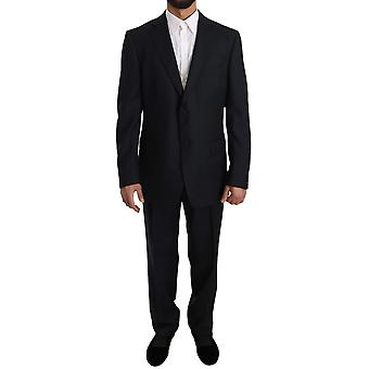Z ZEGNA Blue Solid Two Piece 2 Button Wool Suit
