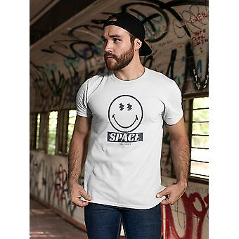 SmileyWorld Space Galaxy Pattern Happy Face Graphic Men's T-shirt