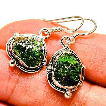 "Rough Chrome Diopside Earrings 1 1/4"" (925 Sterling Silver)  - Handmade Boho Vintage Jewelry EARR407480"