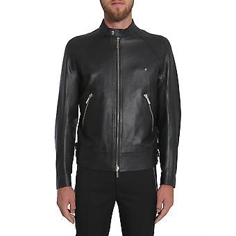 Dior Homme 733l456j029140350291900 Herren's Schwarze Leder Oberbekleidung Jacke